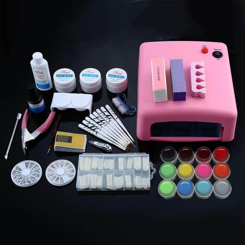 Professional 36W White Cure Lamp Dryer UV Gel Nail Tools Full Set Kit