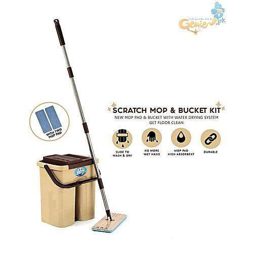 Easy Clean Scratch Magic Flat Spin Mop - Dual Functional Mop **FREE 3x Non-Hand Washing Mop Cloth