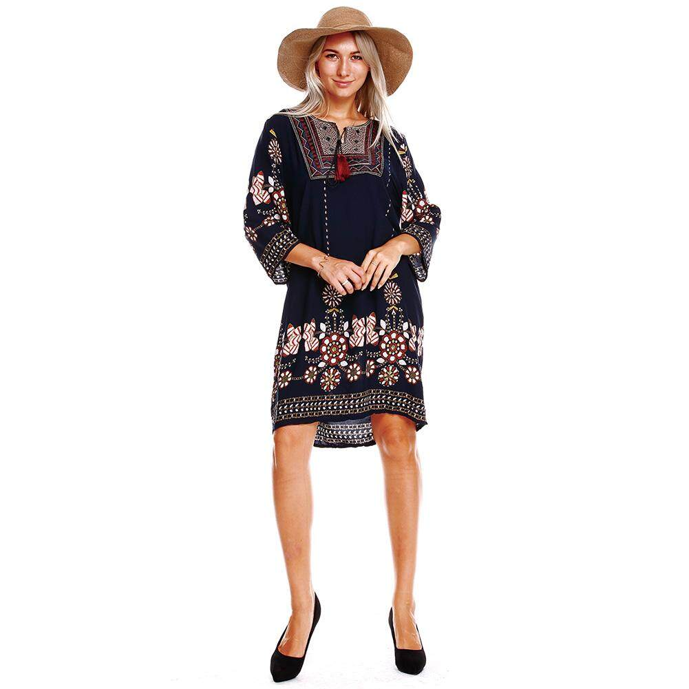 7fcdfc5ab2 Women Boho Tunic Dress Ethnic Embroidered Front Vintage Floral Print  Tassels 3/4 Sleeves Beach