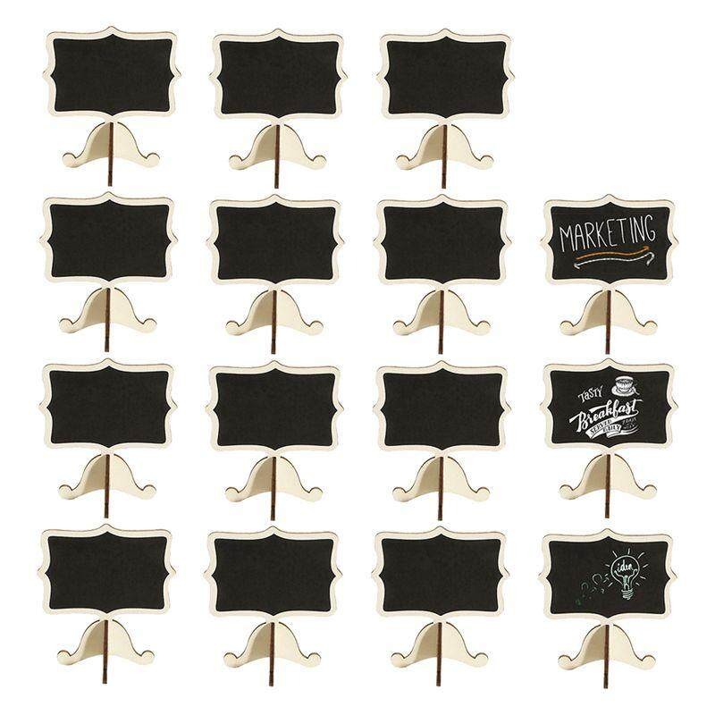 15 Pack Mini Chalkboards Place Cards With Easel Stand - Wood Rectangle Small Chalkboard Signs For Wedding, Birthday Parties, Table Numbers, Food Signs And Special Event Decoration By Superbuy888.