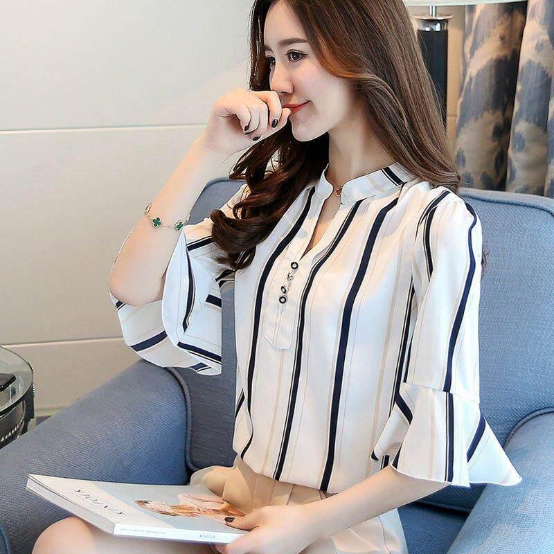 ... INWPLLR Casual Floral Blouses Shirts Women's Fashion Tops Female Korean V-neck Short Sleeve Shirts ...