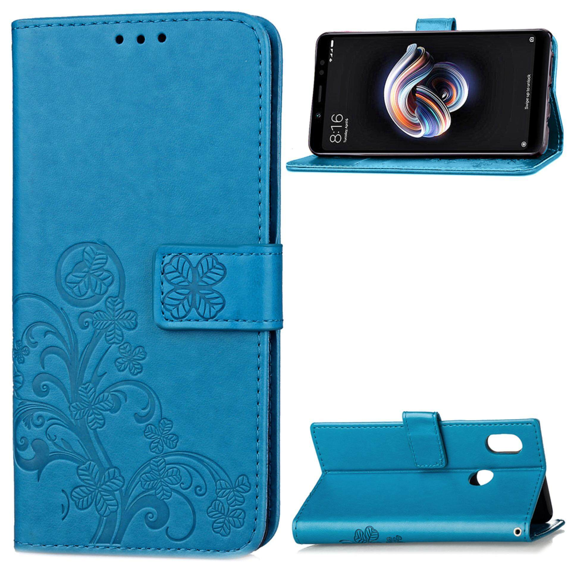 Flower Debossed Leather Flip Cover Case for Xiaomi Redmi Note 5 Pro - intl