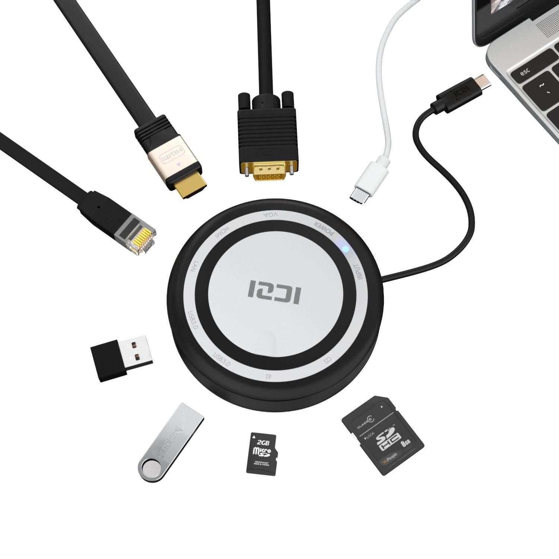 ICZI 9 in 1 USB C Hub Multifunction Type C Adapter USB 3.0 HDMI VGA +TF/SD Ethernet