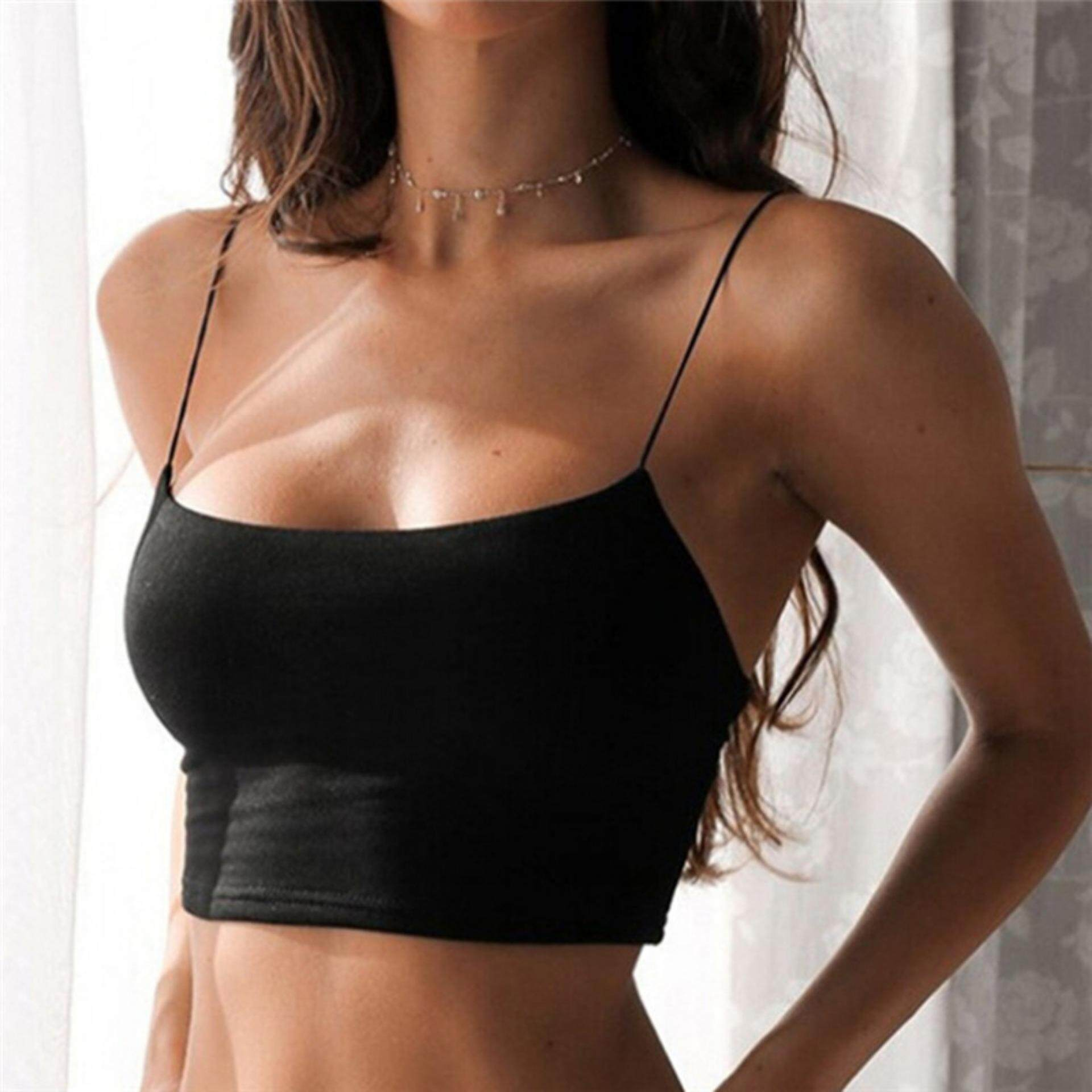 e73926f23f Summer Sexy Female Crop Tops Women Sleeveless Straps Tank Top Solid Fitness  Lady Camis Casual Top