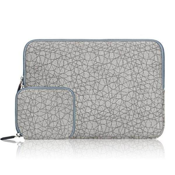 Arvok 15 15.6 16 Inch Canvas Fabric Laptop Sleeve With Extra Bag/Notebook Computer Case/Ultrabook Tablet Briefcase Carrying Bag/Pouch Cover For MacBook Air/Pro/Acer/Asus/Dell/Lenovo/HP, Leaf Vein Grey - intl