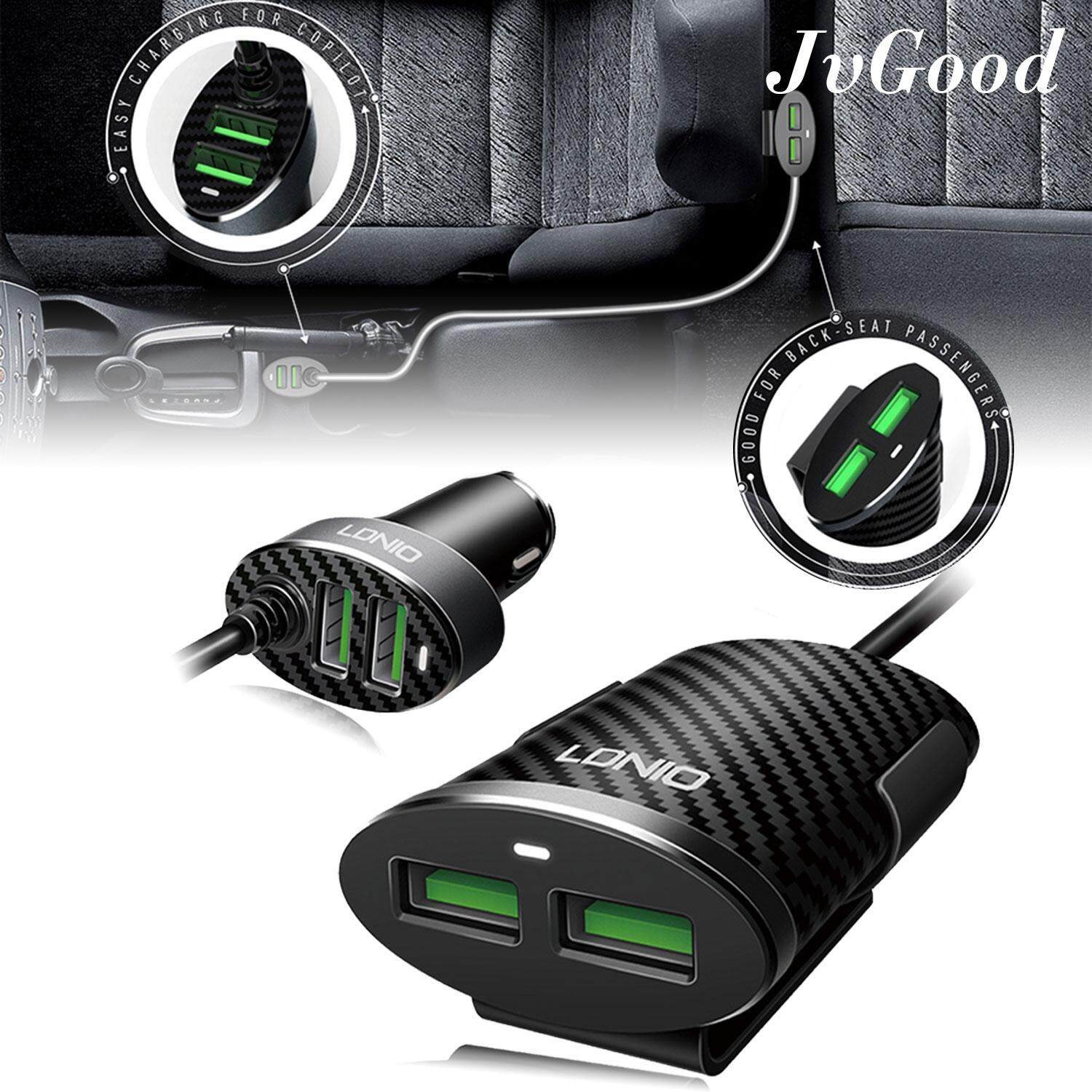 Jvgood Car Charger, 4 Usb Ports 5.1a Fast Car Adapter Auto Id Chip Sharing Dual Charger Modes Convenient For Sharing Between Front And Back Seats 1m By Jvgood.