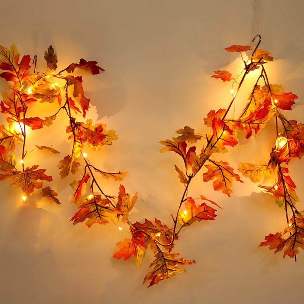 Hammshop  1.8M LED Lighted Fall Autumn Pumpkin Maple Leaves Garland Thanksgiving Decor