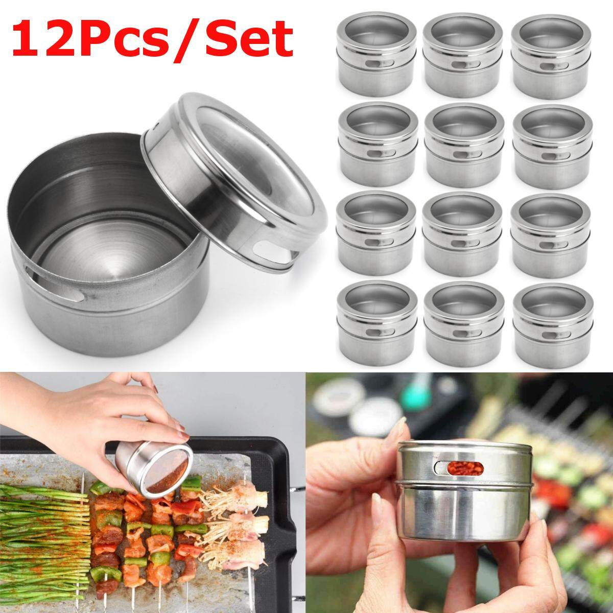 5939823f3d38 12Pcs/Bag Stainless Steel Magnetic Spice Tin Storage Container Jar Clear  Lid Kitchen
