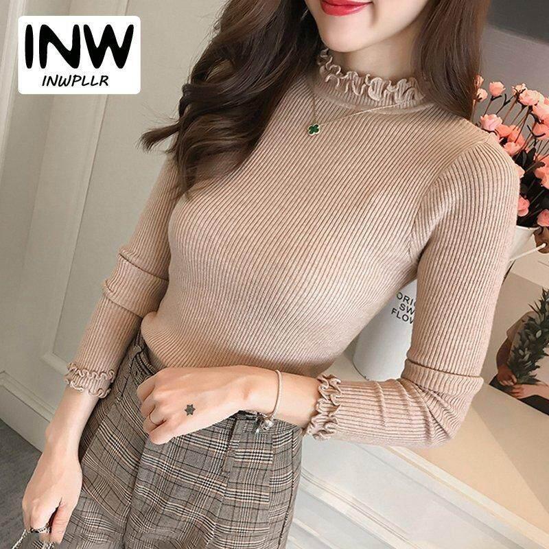 Hình ảnh Áo Len Chui Đầu INWPLLR Cho Nữ, Áo Dệt Kim Dài Tay, Màu Trơn, Xù Lông Kiểu Hàn Quốc, Mặc Mùa Thu