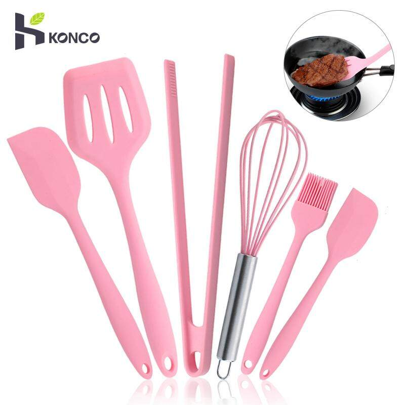 Konco Silicone Cookware Set, Pink 6 Pieces Egg Beater Spoon Clip Spatula Oil Brush Kitchen Tools By Konco.
