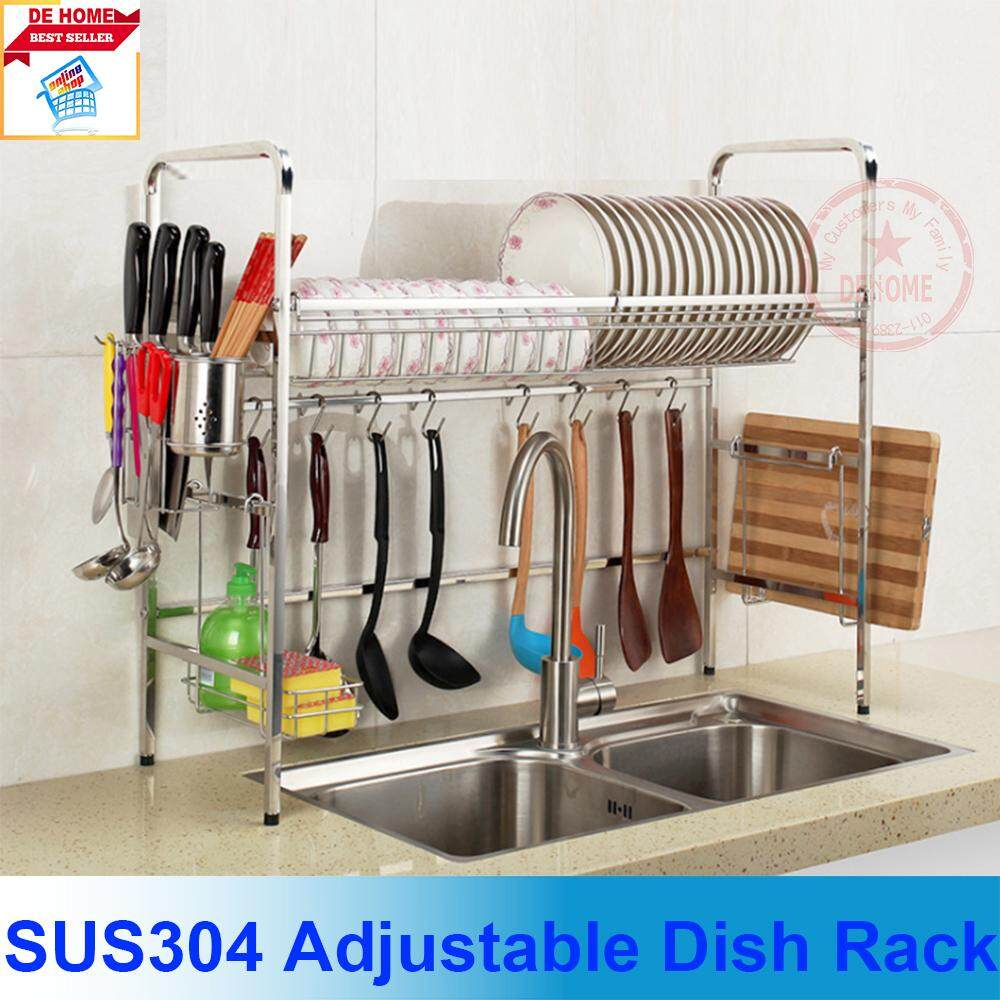 585e8f51d1a6 Single Layer Sink Adjustable Top Dish Drying Rack Utensil Holder,Dish  Drainer Over the Sink Kitchen Storage Shelf