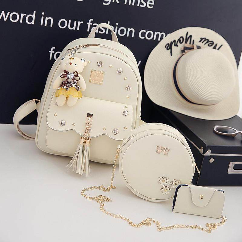 29fa24a0e1  Flower Edition - White Trio Bear Fringe shoulder bag female Korean version  of the