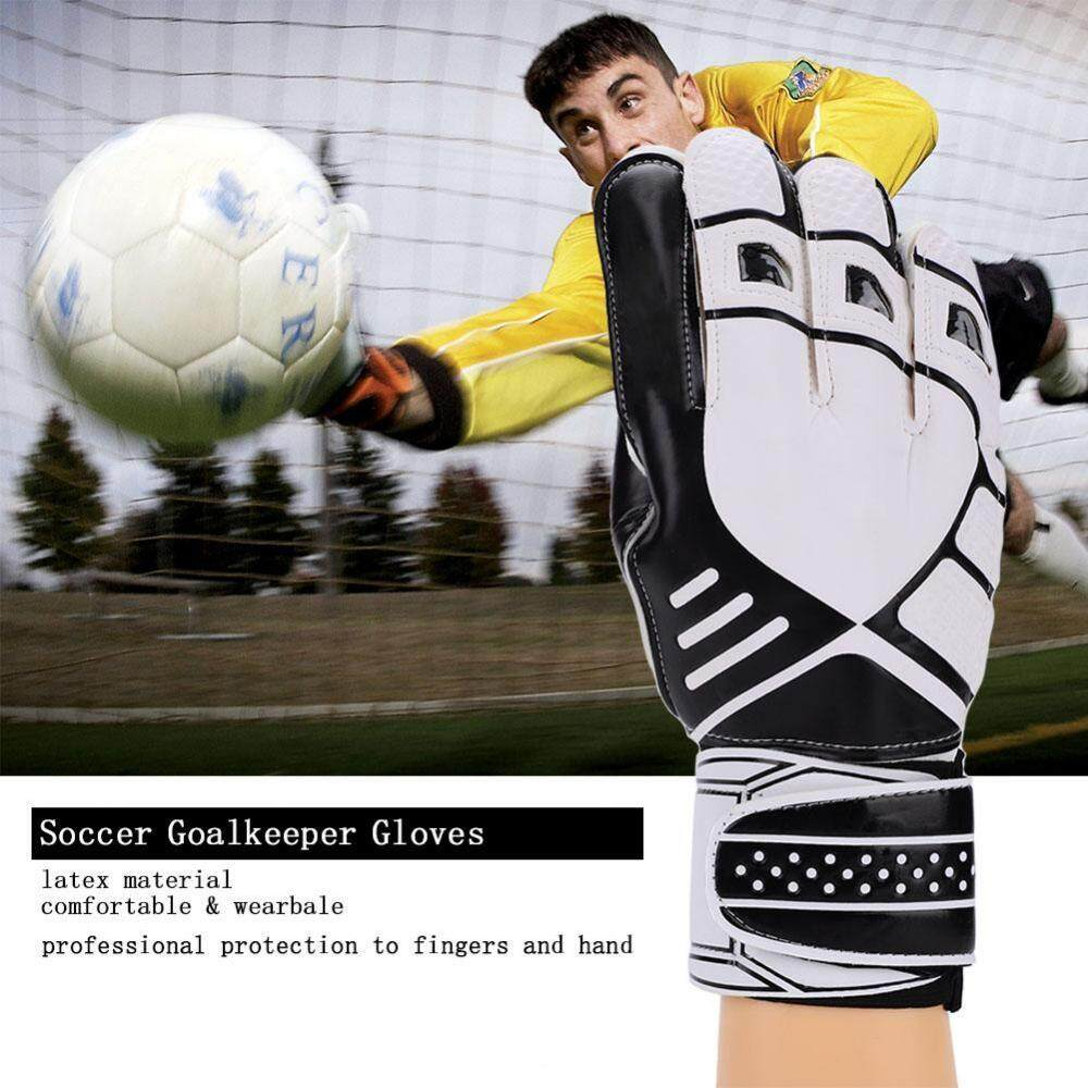1Pair Durable Thickened Latex Soccer Goalkeeper Gloves Accessory (Black) - intl