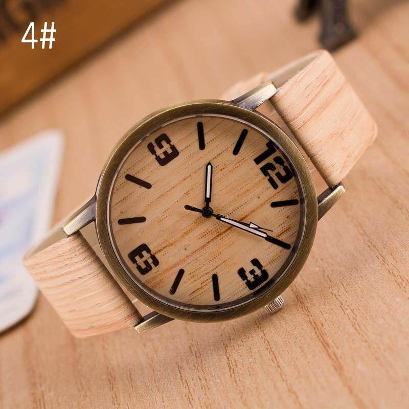 Vintage Wood Grain Watches for Men Women Quartz Watch PU Leather Casual Wristwatches Malaysia