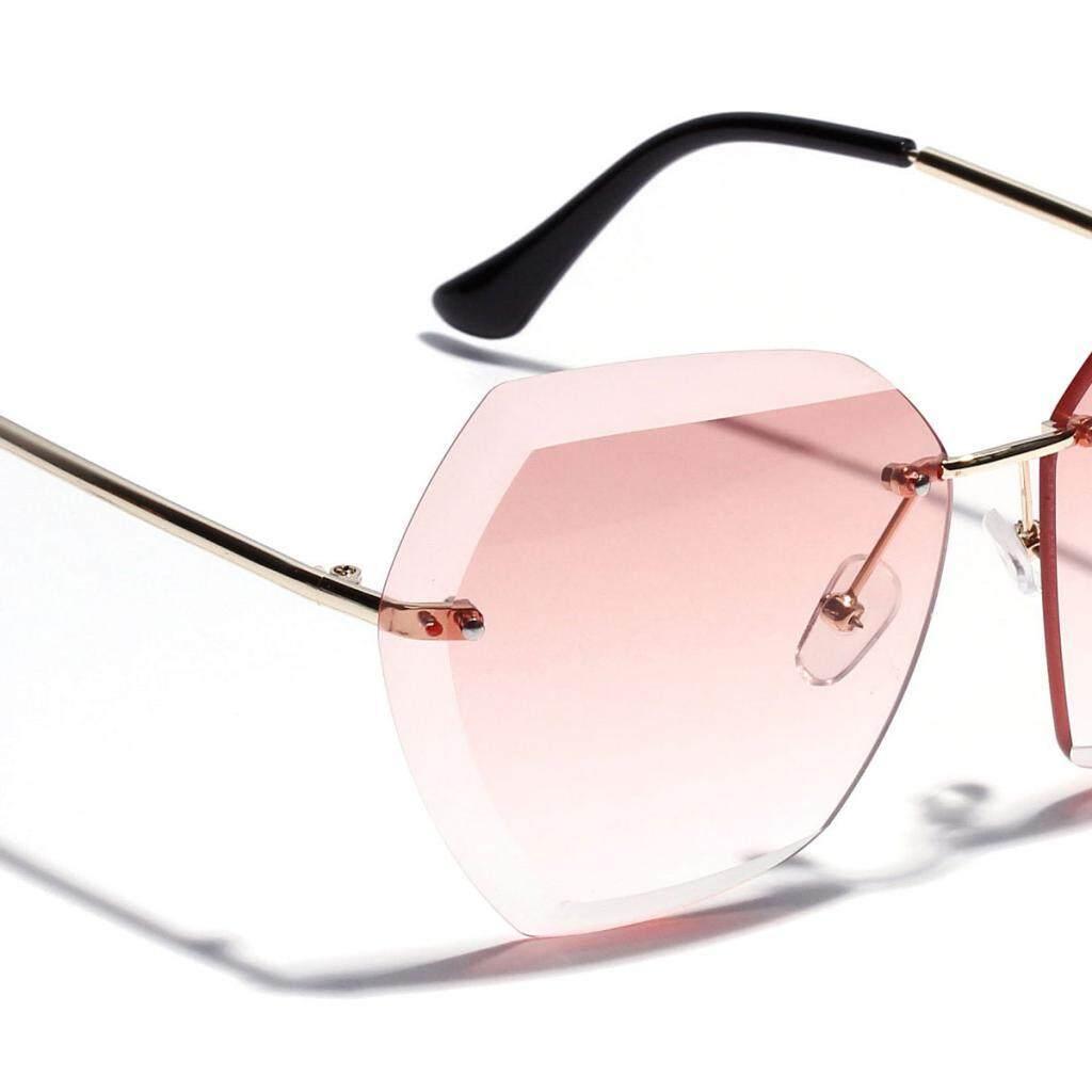 Pencari Harga Magideal Poligon Tidak Beraturan Tanpa Bingkai Kacamata Transparan Lensa Warna Merah Muda-Internasional