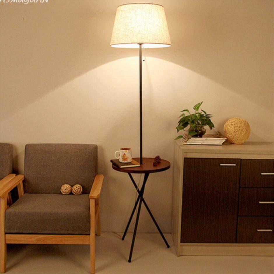 Nordic Modern Simplified Floor Lamp Living Room Cross Floor Lamp Real Wood Fabric Landing - intl