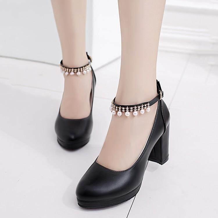 a0b8f295931da6 Fashion Women Ankle Strap High Heels Platform Stilettos Suede Pumps Shoes  Black - intl