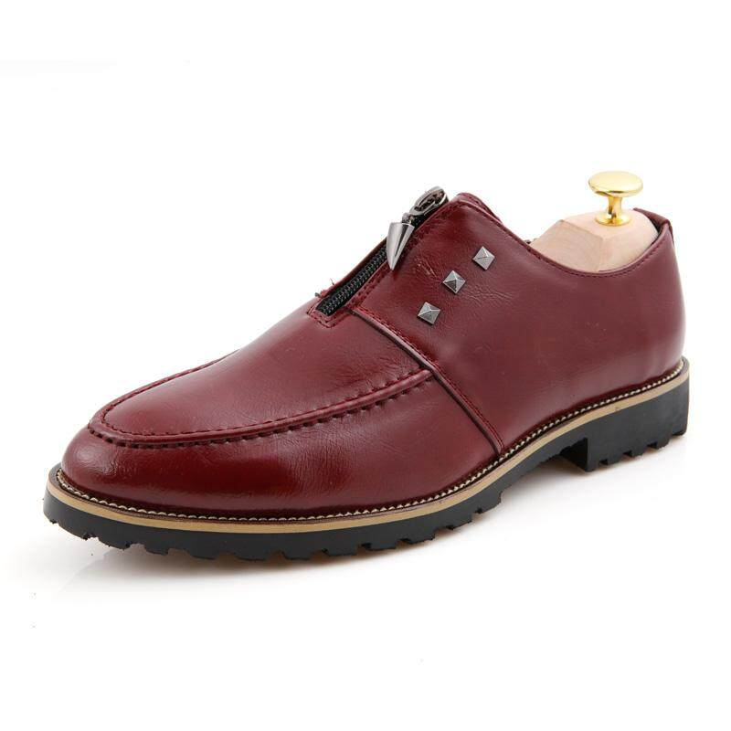 Fashion Sepatu Bisnis Pria Gaun Kulit Pria Sepatu Nikah Flat Pria Formal Kantor Gaya-Intl