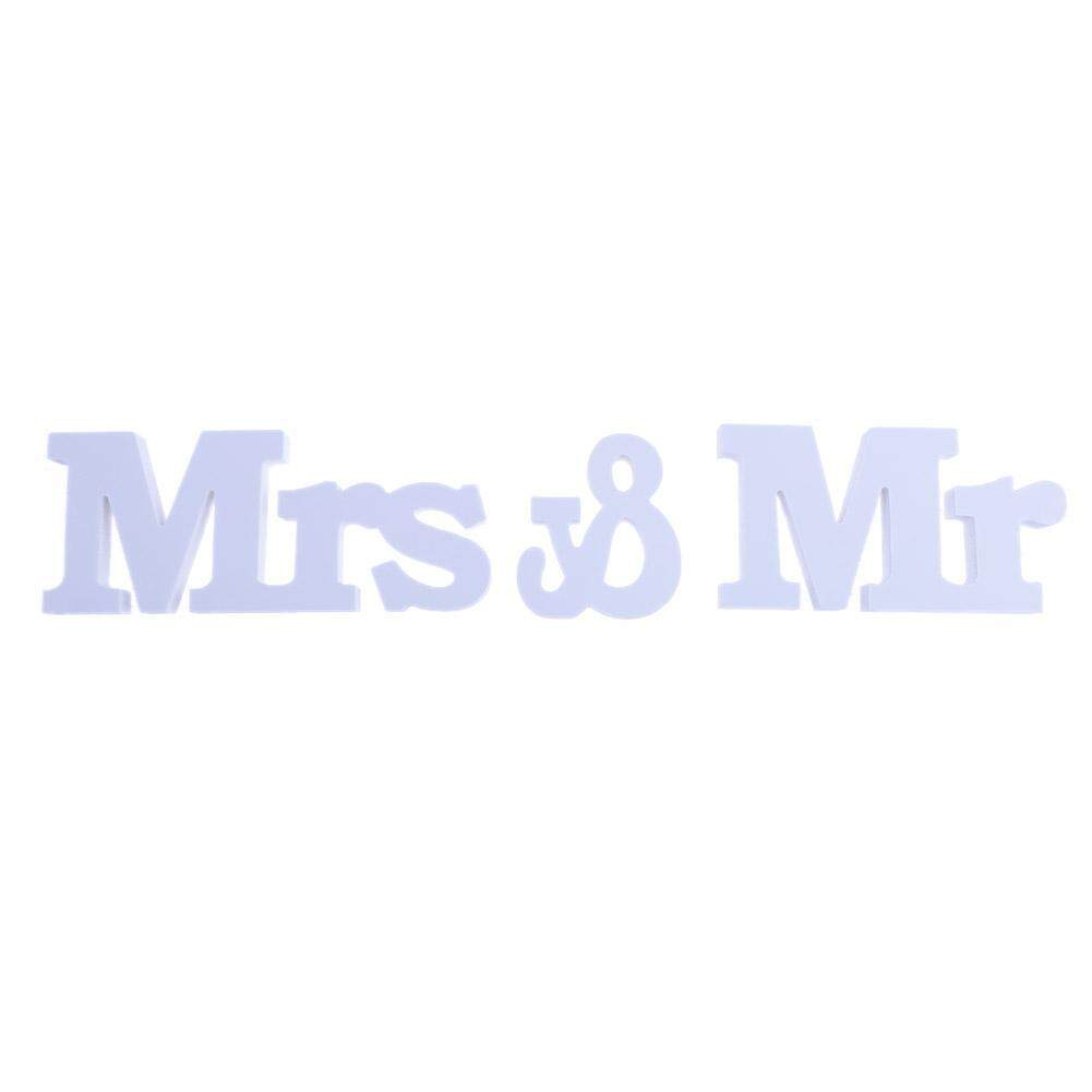 Hình ảnh Mr & Mrs Wedding Decoration Letters Sign Wooden Standing Top Table Gadget - intl