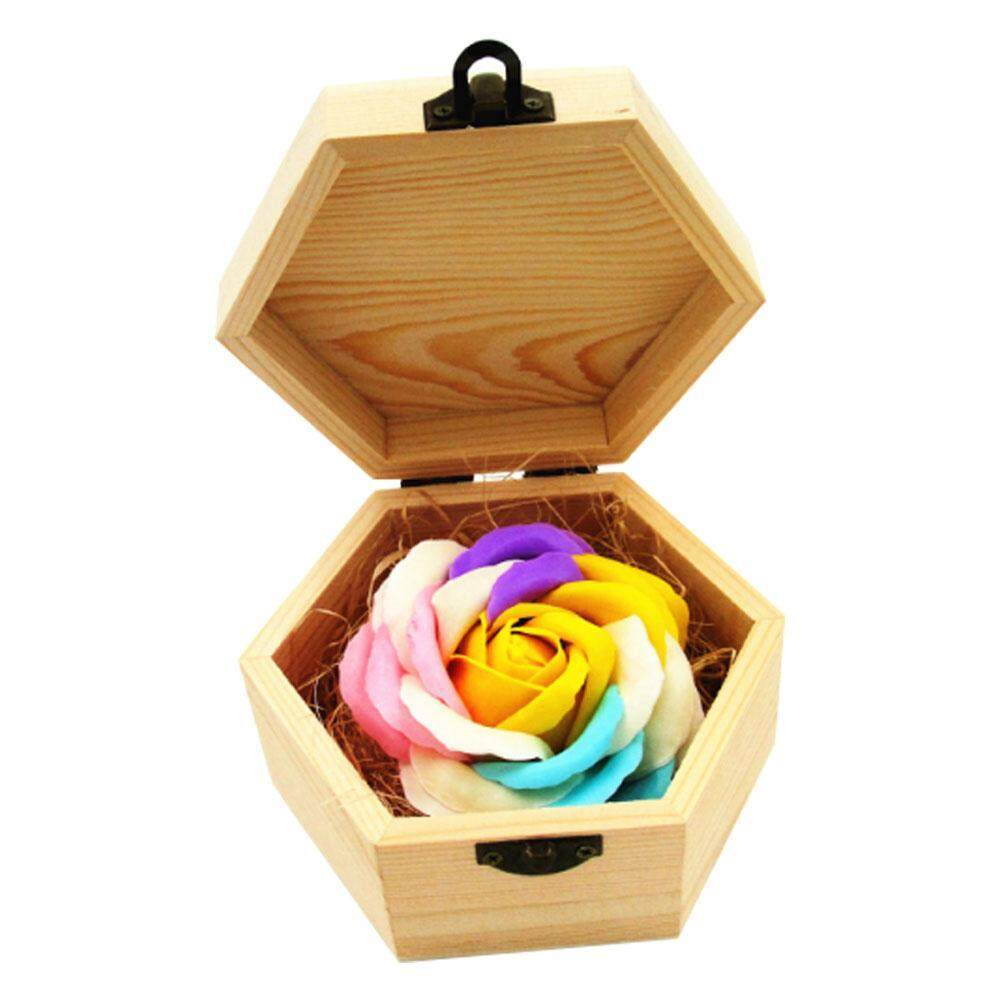 opkmc Handmade Rainbow Rose Soap Simulation Flower With Hexagon Wood Box For Birthday Present Valentines Day Gifts Home Decorations - intl
