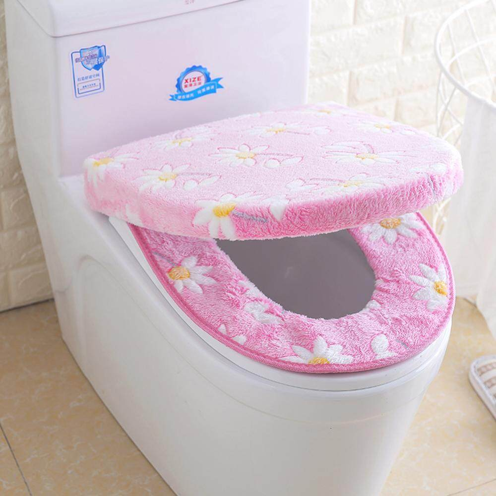 2pcs/set Soft Coral Fleece Bathroom Toilet Seat Cover Cushion Washable Pad Mat By Minxin.