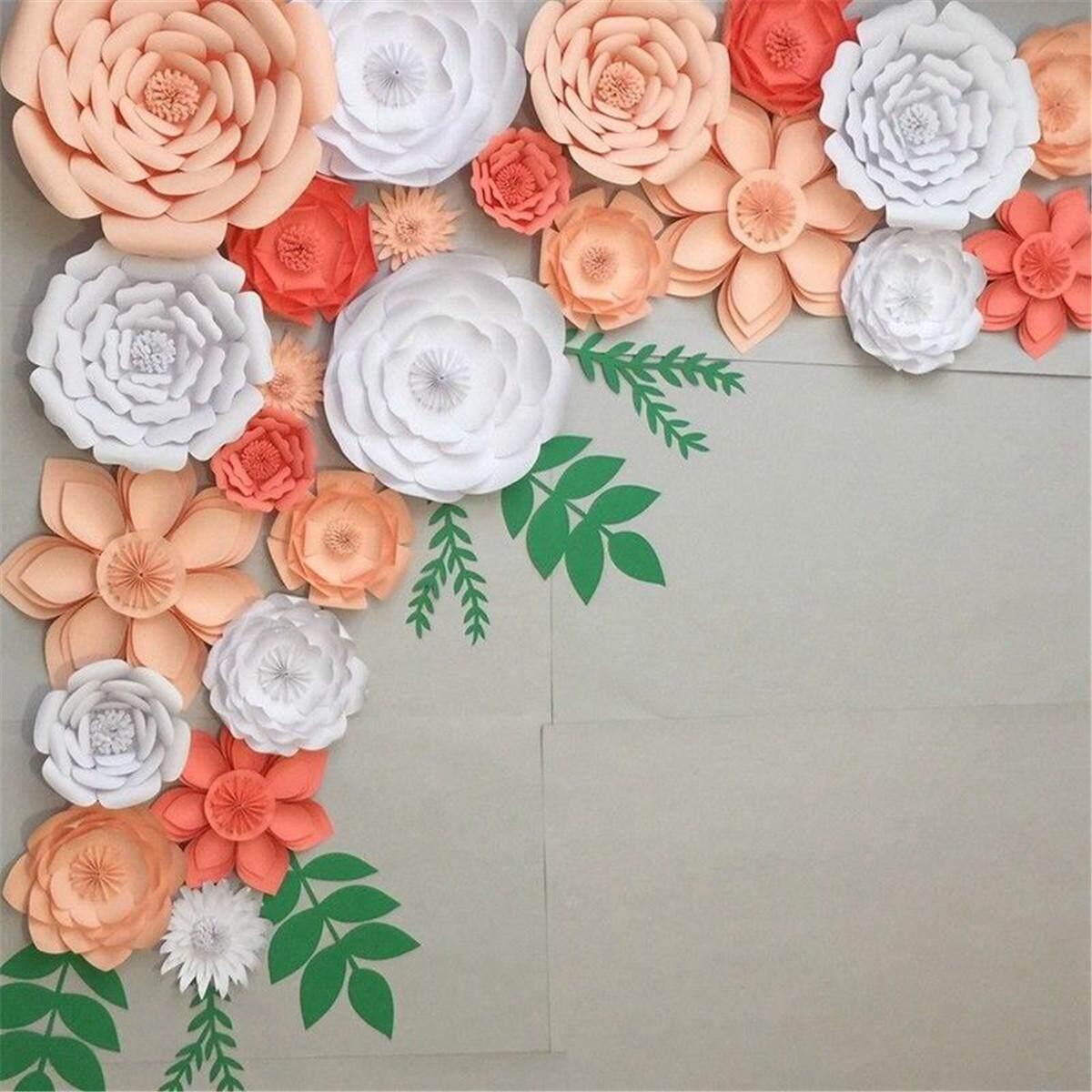 2Pcs Paper Flower Backdrop Wall 20cm Giant Rose Flowers DIY Wedding Party Decor
