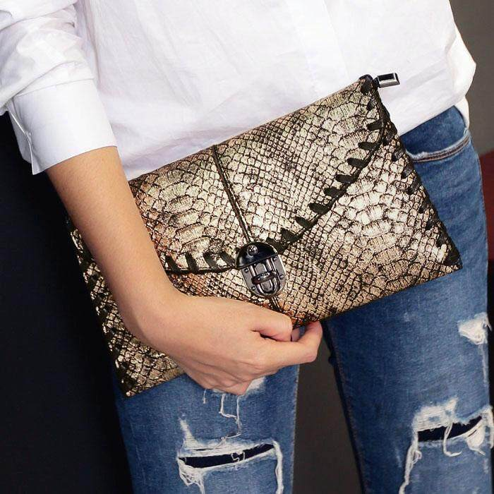 Europe And America Fashion Originality Snakeskin Double Layer Handbag Female 2019 New Style Simple Chain Bag Cool Crocodile Pattern Clutch Bag