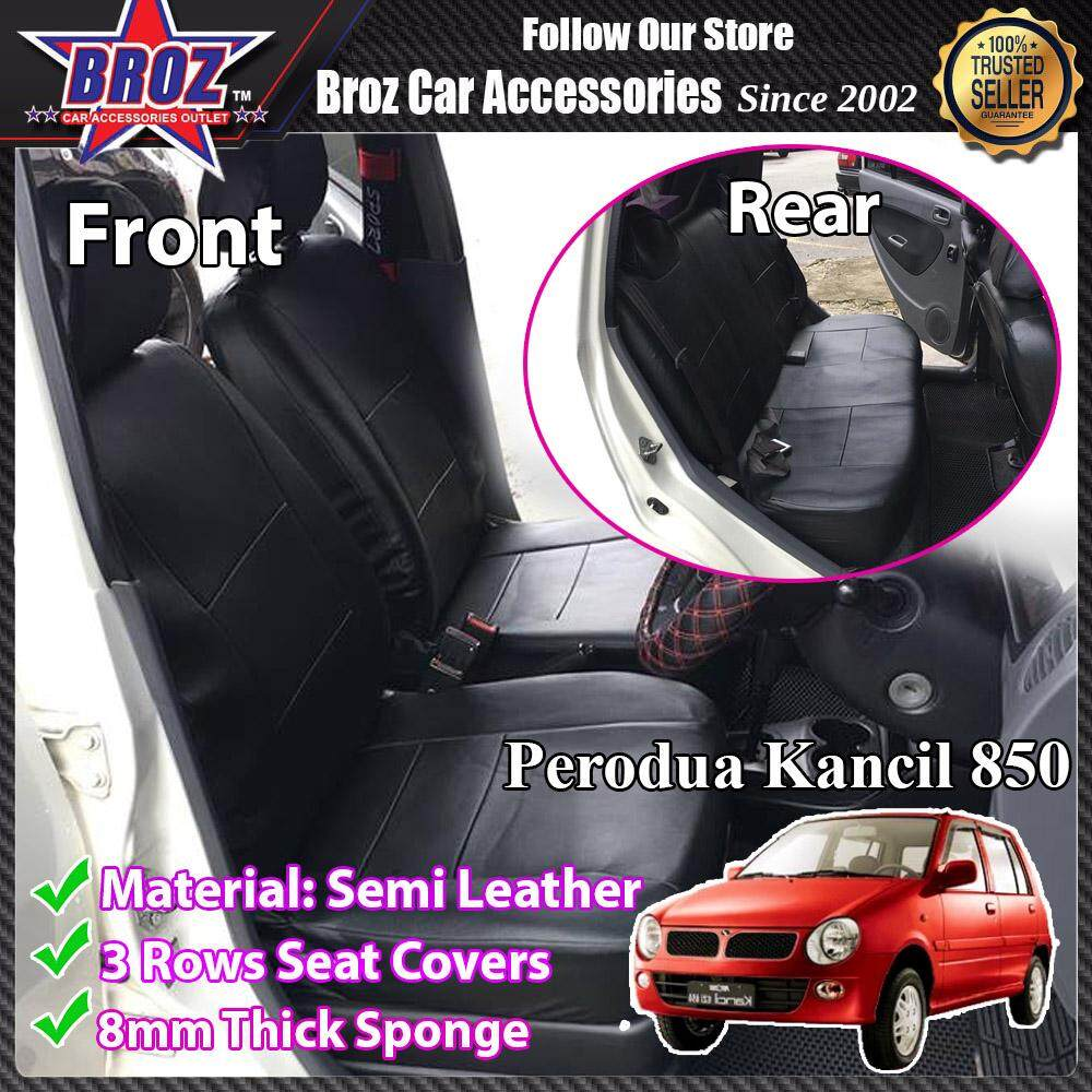Broz Car Seat Cover Case Semi Leather Perodua Kancil Old New 850 Front and Back - Black (Made in Malaysia)