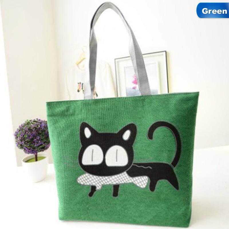 Kuhong Sederhana Fashion Kartun Kucing Lucu Pegangan Tas Bahu-Internasional