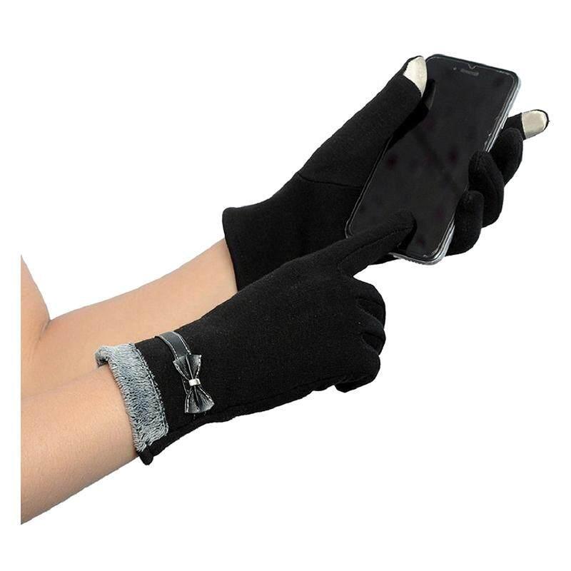 Sentuh Sarung Tangan Motor Sarung Tangan Sarung Tangan untuk Layar Sentuh (Hitam)-Intl