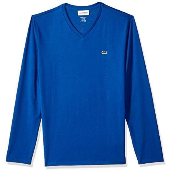 Lacoste Mens Long Sleeve Jersey Pima reg Fit V Neck T-Shirt, TH6711, Heritage Blue, XXL - intl