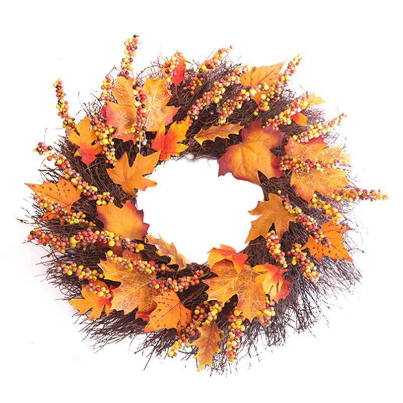 Thanksgiving Day Door Simulation Berry Maple Leaf Door Wall Ornament Large Wreath Garland Style:Pictures