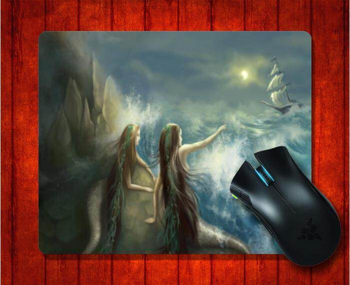 MousePad with Hunting two mermaids in the rocks on the backgroun picture for Mouse Pad Design image Gaming Mice mat 9.5 X 7.9 Inch(240X200X3mm) - intl