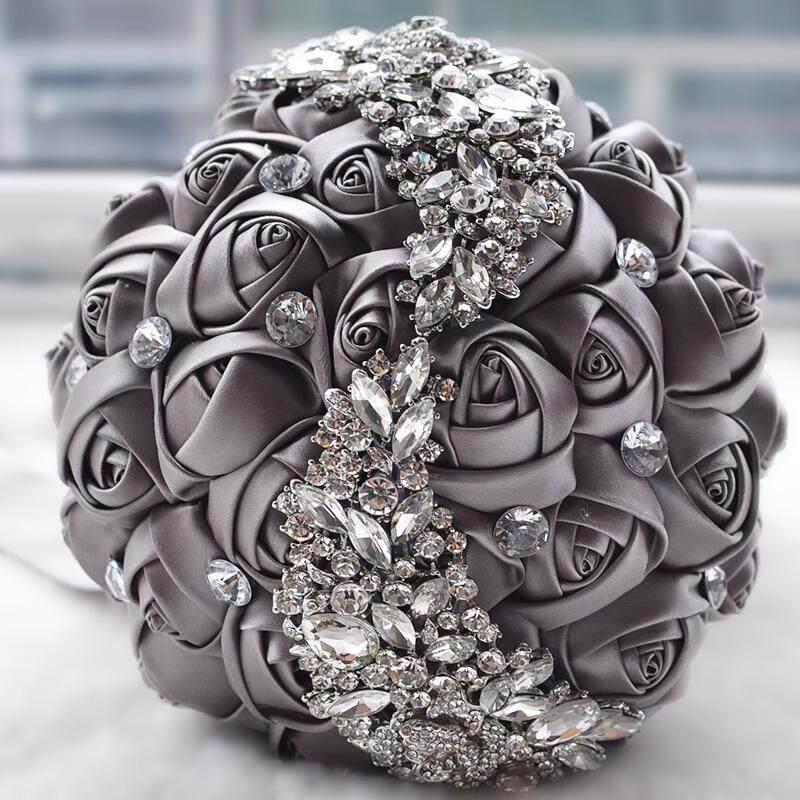 LJAN Gorgeous Wedding Bridal Bouquet Silk Roses Flowers W/ Rhinestone Crystal Brooch - intl
