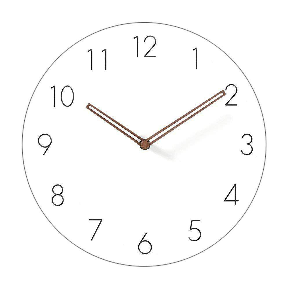 Simple Modern White Round Wooden Wall Clock 11 inch Non-ticking one AA battery powered (Arabic Numbers) Free Shipping