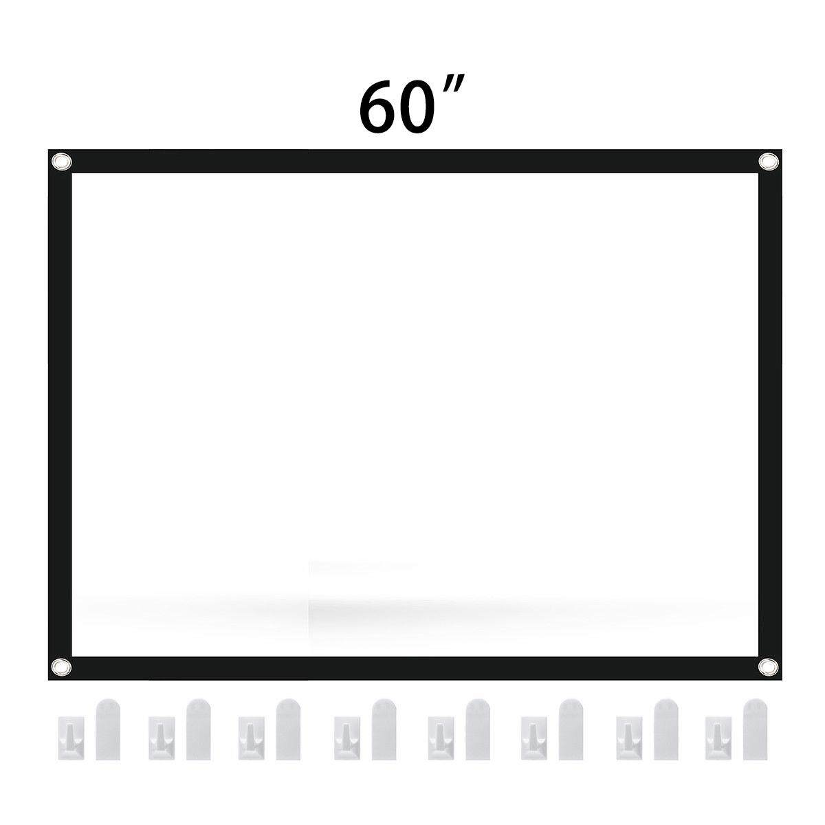 Gracekarin Online 60/72''/84''/100'' Foldable Projector Screen 4:3 Home Cinema Theater Projection