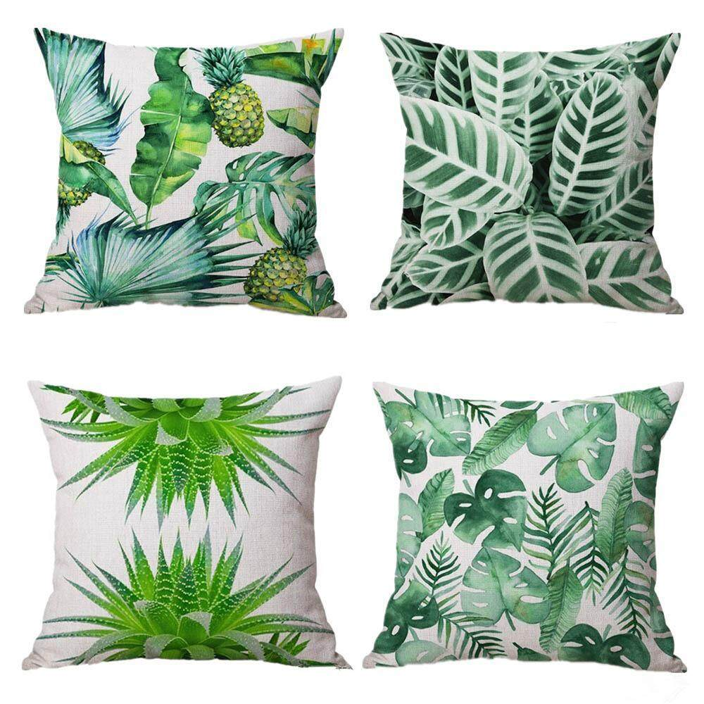 Yuero Set of 4 New Living Tropical plants Green Leaves Throw Sofa Pillow Case Cushion Cover Linen Cotton 45cm*45cm