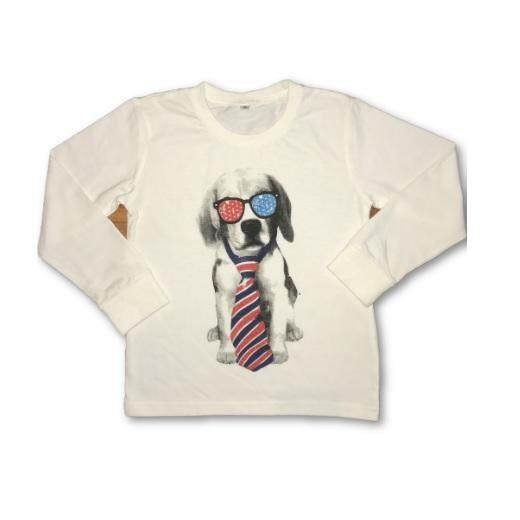 Boys Long Sleeves Tshirt with Dog Design - White