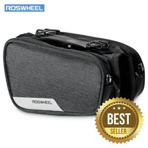 ROSWHEEL 121461 Bicycle Top Tube Pannier Bike Frame Bag with Phone Mount Holder (GRAY)