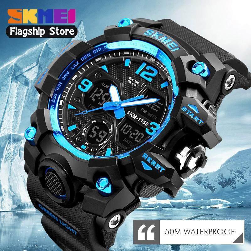 SKMEI Men Sport Watches Digital Chronograph Dual Display Alarm Watch 50M  Watwrproof EL Light Wristwatches Jam aff5a827ed