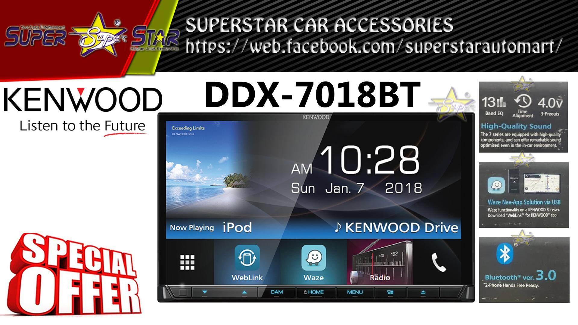Kenwood DMX7018WBT 7' Mechless Waze Nav-App Weblink Bluetooth 200mm Wide  Receiver