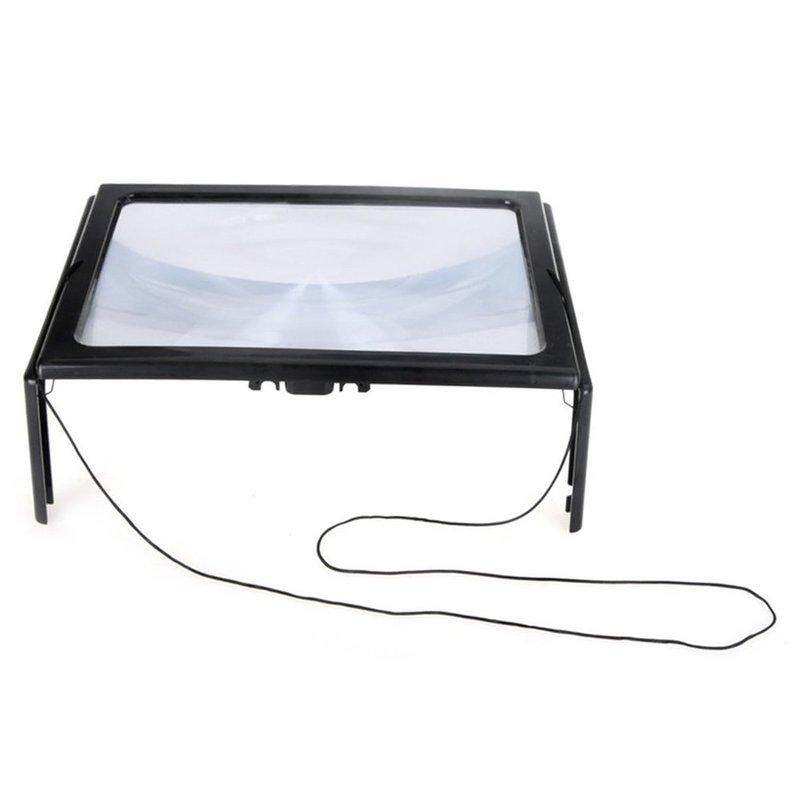 Hot Deals Full Page PVC Reading Magnifier Foldable Magnifying Loupe with 4 LED Lights