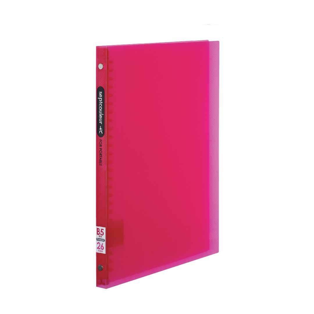 SEPT COULEUR B5, 26 Holes, 60 Sheets, 15 Spine Width -  Red