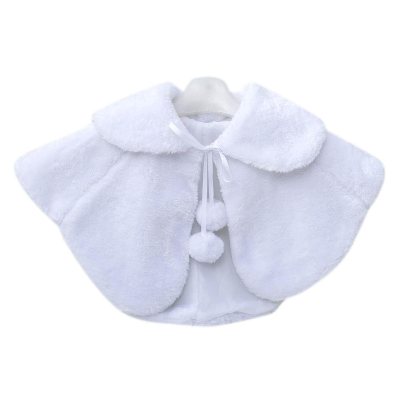 Sunny shop Girl's Winter Faux Fur Bolero Jacket Princess Cape Shoulder Coat Bridesmaid Shawl with Cute Pompons - intl