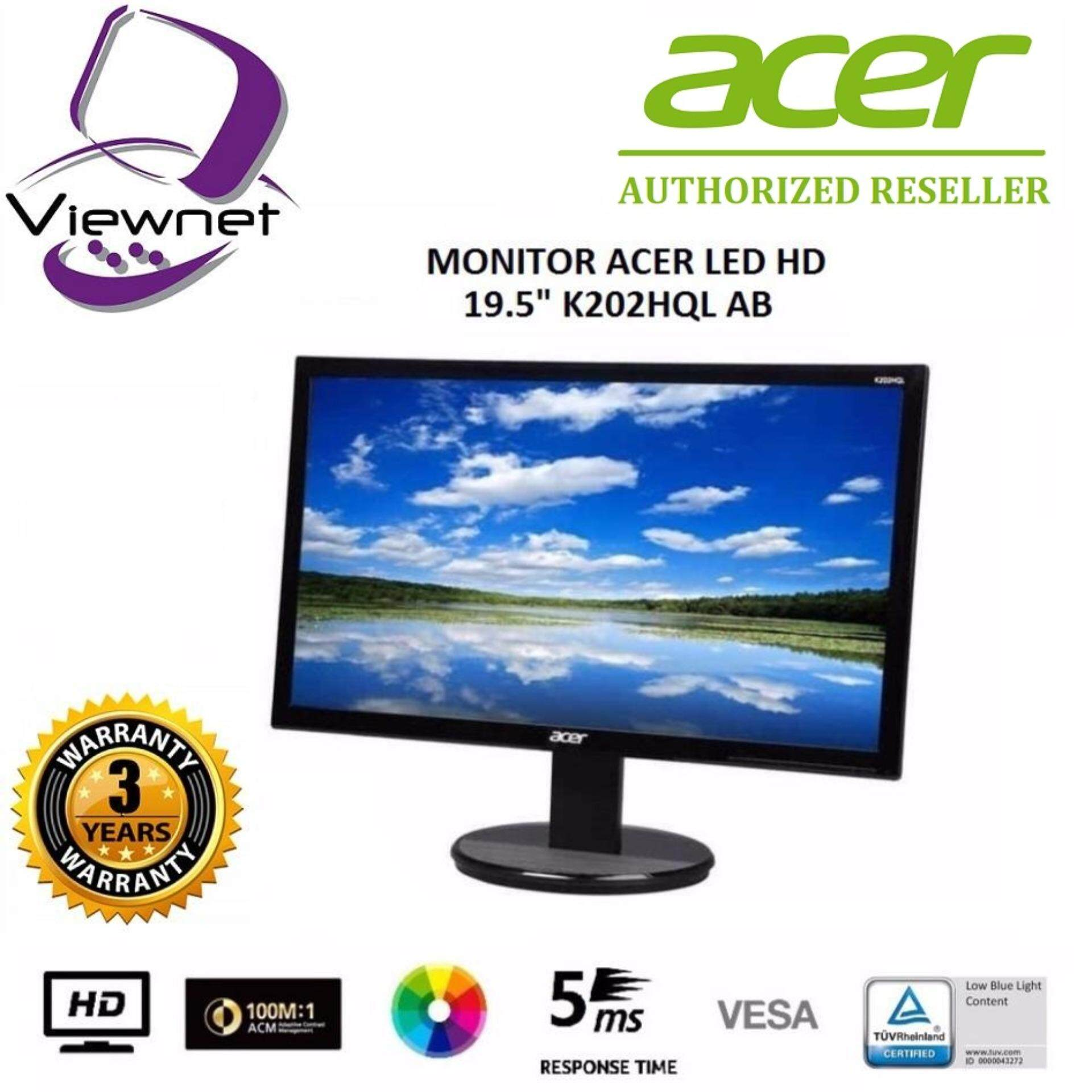 GENUINE ACER LED FLAT HD 19.5 ENVIRONMENT-FRIENDLY LCD MONITOR K202HQL AB WITH LOW BLUE LIGHT CONTENT (5MS/VGA/VESA) (UM.IX3SM.A01) Malaysia