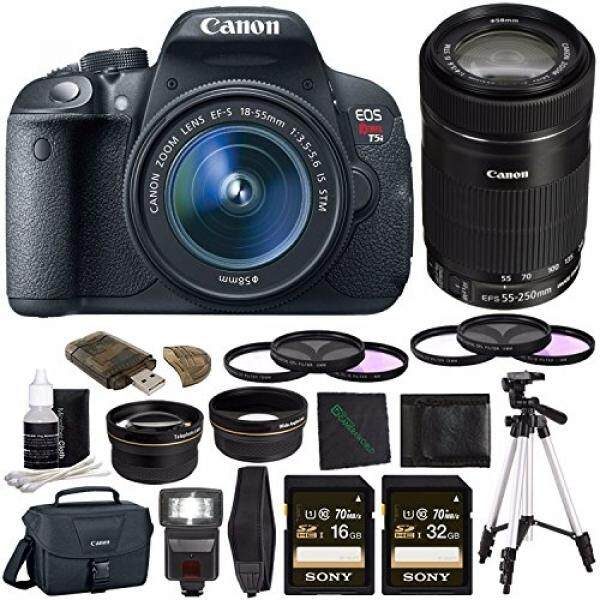 Canon EOS Rebel T5i Digital SLR Kamera Kit dengan 18-55 Mm Lensa + 58 Mm Lensa Sudut Lebar + 58 MM 2x Lensa Telefoto + Sony 16 GB Kartu SDHC (Kelas 10) + Sony 32 GB Kartu (Kelas 10) + Tripod + Rangkaian Lampu Kilat