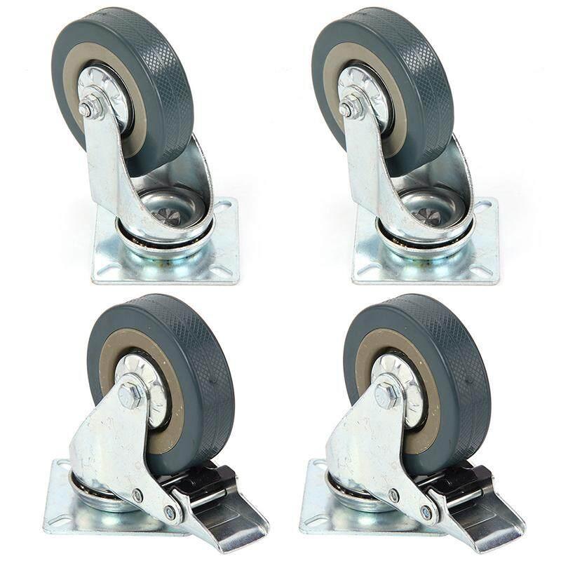 Set of Heavy Duty 75x21mm Rubber Swivel Castor Wheels Trolley Caster Brake 50KGModel:2 with brake +2without brake