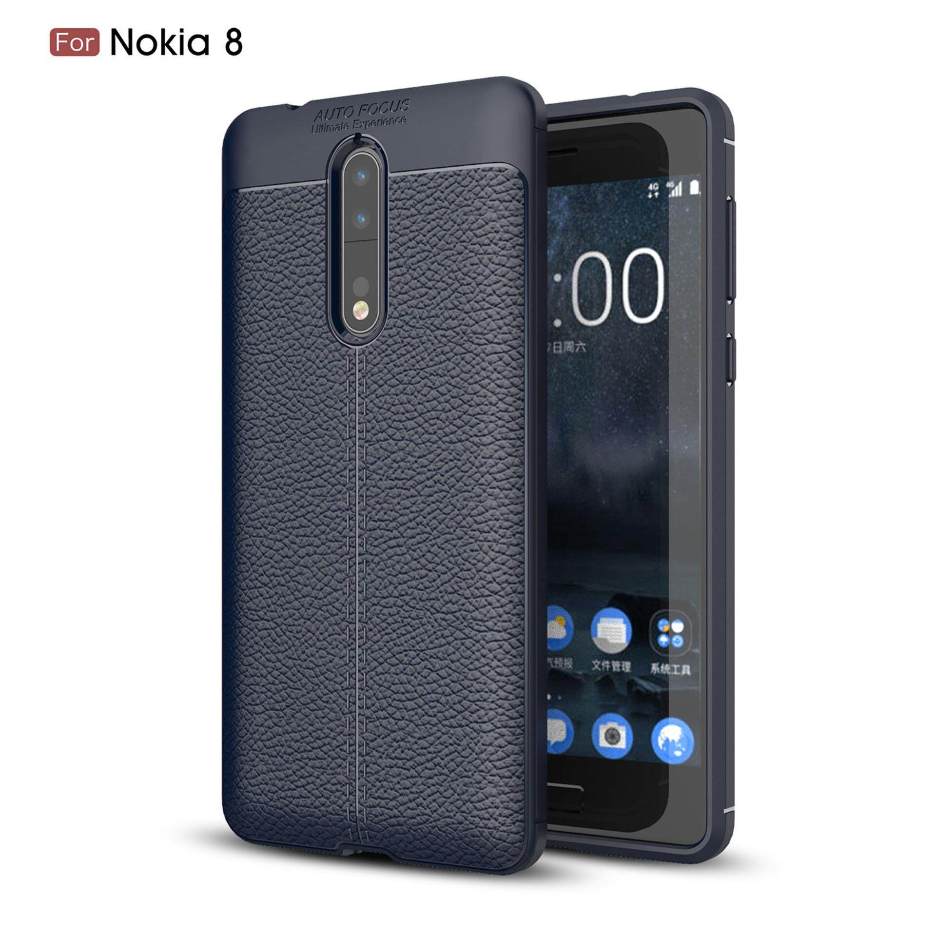 For Nokia 8 Case Litchi Pattern Leather Soft TPU Silicone Shockproof Protective Back Cover - intl