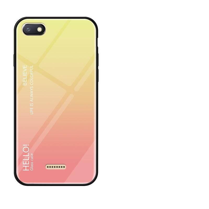 Happon Sarung untuk Xiaomi Redmi 6A Kembali Tempat Warna Gradien Bahan Kaca Casing Ponsel Anti-