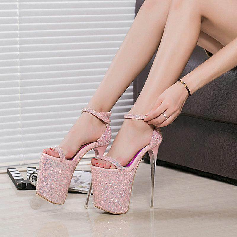 7cff53bfc Women fashion new super high 20cm Platform 9cm sandals lady Peep Toe Thin  High Heels Party